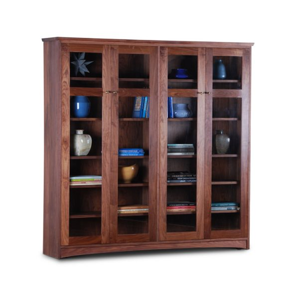 walnut bookcase with glass doors