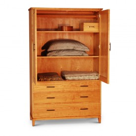 Harrison Armoire in cherry shown open