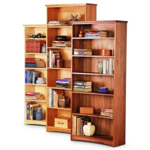 standard bookcases in cherry, maple and walnut