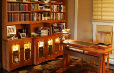 Library Cabinet with Stained Glass Doors