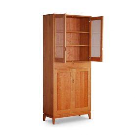 standing desk cabinet with doors open